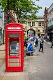 Cash machine in red telephone kiosk, Lincoln royalty free stock photos