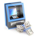 Cash machine and stack of dollars Stock Image