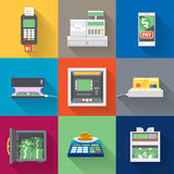 Cash machines icons set in flat style Royalty Free Stock Photography