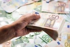 Cash. In man hand closeup Stock Image