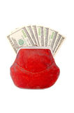 Cash money in antique purse Royalty Free Stock Image