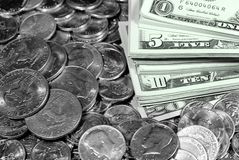 Cash Money Bills and Coins Stock Photos