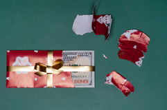 Cash Money Christmas Present of U.S. Currency Royalty Free Stock Photos