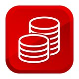 Cash Money Coins Icon. Red Button. Eps10 Vector royalty free illustration
