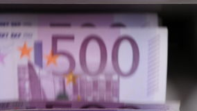 Cash money counting machine. Banknote counter are counting five hundred euro bills. stock footage