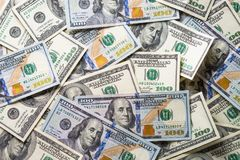 Cash money dollar. Background with money american hundred dollar bills. Top view royalty free stock photography