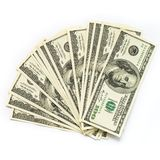 Cash money dollar on white. Background with money american hundred dollar bills Stock Images