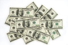 Cash money dollar on white. Background with money american hundred dollar bills Stock Photo