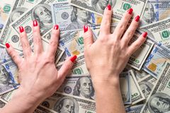 Conception of wealth and rich. Cash money dollar and woman hands. Conception of wealth and rich stock photos