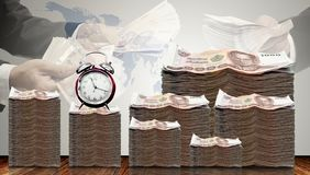 Cash money growth with time and businessman offer loan. For investment Royalty Free Stock Photography