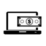 Cash money icon image. Laptop with cash money icon image vector illustration design Stock Images