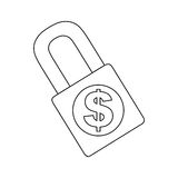Cash money icon image. Safety lock cash money icon image vector illustration design Stock Photos