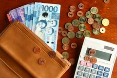 Cash money in a leather wallet, coins and a calculator Royalty Free Stock Photo