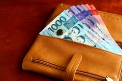 Cash money in a leather wallet Stock Photos