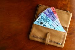 Cash money in a leather wallet Royalty Free Stock Photo
