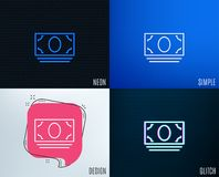 Cash money line icon. Banking currency. Glitch, Neon effect. Cash money line icon. Banking currency sign. ATM service symbol. Trendy flat geometric designs Stock Images