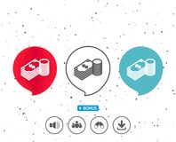 Cash money line icon. Banking currency. Speech bubbles with symbol. Cash money line icon. Banking currency sign. Dollar or USD symbol. Bonus with different Royalty Free Stock Image