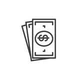 Cash money line icon, outline vector sign, linear style pictogram isolated on white. Symbol, logo illustration. Editable stroke. Pixel perfect Royalty Free Stock Photo