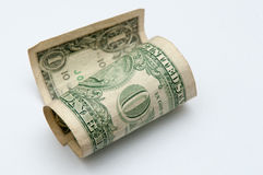 Cash money, one old dollar bill Royalty Free Stock Images