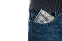 Cash, money is in the pocket of blue jeans Stock Images