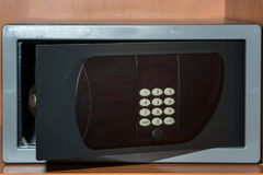 Cash Money Safe Deposit. Small Residential Vault with Cash Money and passport. Closeup Photo Royalty Free Stock Images