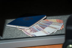 Cash Money Safe Deposit. Small Residential Vault with Cash Money and passport. Closeup Photo Stock Photos