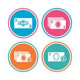 Cash money signs. Currency with coins icons. Royalty Free Stock Photos