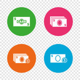 Cash money signs. Currency with coins icons. Stock Image
