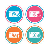 Cash money signs. Dollar, euro and pound icons. Stock Photography