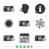 Cash money signs. Dollar, euro and pound icons. Royalty Free Stock Photography