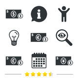 Cash money signs. Dollar, euro and pound icons. Royalty Free Stock Image