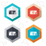 Cash money signs. Dollar, euro and pound icons. Hexagon buttons. Businessman case icons. Dollar, yen, euro and pound currency sign symbols. Labels with shadow Royalty Free Stock Images
