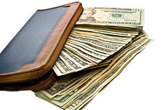 Cash/Money and a Wallet. royalty free stock photography