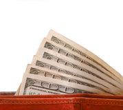 Cash Money in Wallet Stock Photography