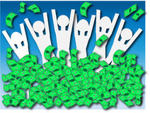 Cash Money Windfall. An illustration of people celebrating a cash windfall Stock Images