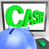 Cash On Monitor Showing Finances Royalty Free Stock Photos