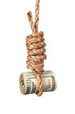 Cash in noose. A roll of cash in a noose depicting tough economic times, devaluation, recession and financial collapse Royalty Free Stock Photos