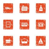 Cash office icons set, grunge style. Cash office icons set. Grunge set of 9 cash office vector icons for web isolated on white background Stock Images
