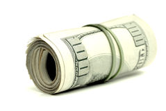 Cash One Hundred Dollars. Closeup of hundred dollar bills in a pile Royalty Free Stock Photography