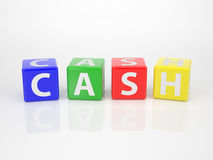 Cash out of multicolored Letter Dices. The Word Cash out of multicolored Letter Dices Royalty Free Stock Images