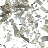 Cash, paper dollars, falling from the heaven. Finance illustration Royalty Free Stock Photography