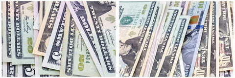 Cash paper money denominations collage Stock Photography