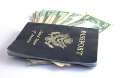 Cash and Passport Stock Photography