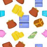 Cash pattern, cartoon style. Cash pattern. Cartoon illustration of cash vector pattern for web Stock Image