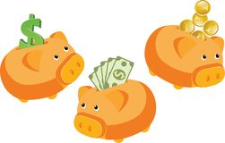 Cash pigs. Coin boxes in the form of a pig with coin, dollar and money Royalty Free Stock Image