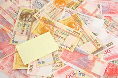 Cash Pile With Post It Note Stock Images
