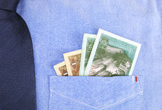 Cash in pocket. Of shirt Stock Photography