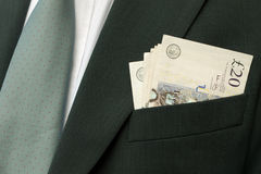 Cash in pocket - sterling Royalty Free Stock Photography