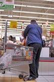 Cash point in Auchan hypermarket store Stock Photos