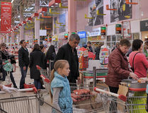 Cash point in Auchan hypermarket store Stock Image
